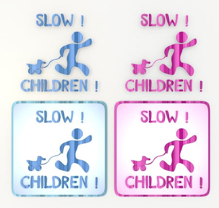 puerile: 3d graphic  lable in pink and blue symbol with coltish slow children icon  Stock Photo