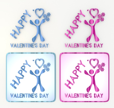 puerile: 3d graphicin pink and blue  symbol 3d graphic with childish happy valentines day icon