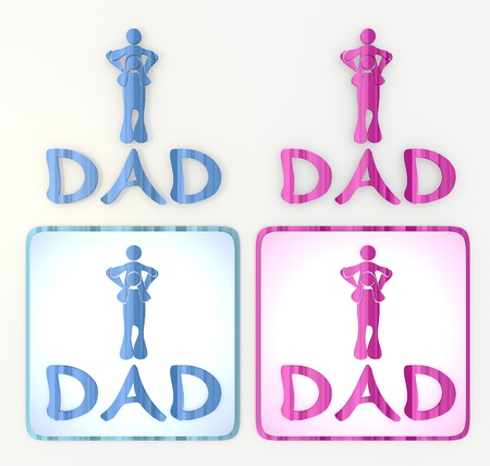 puerile: 3d graphic in pink and blue  symbol  with funny dad icon