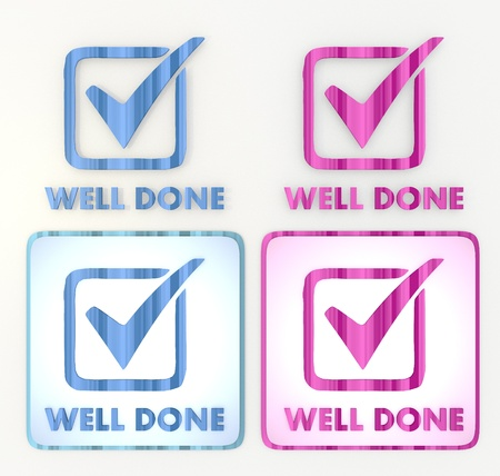 3d graphic in pink and blue symbol  with coltish well done icon Stock Photo - 18289565