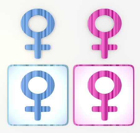 puerile:  3d graphic in pink and blue  symbol 3d graphic with colourful woman icon