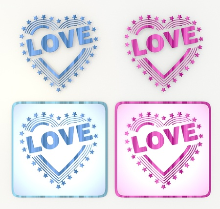 puerile: 3d graphic in pink and blue symbol  with fresh heart with stars icon