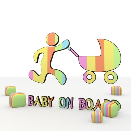 puerile: 3d graphic colorful symbol  with nice baby on board 3d icon