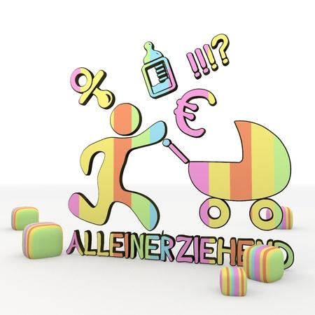 puerile: Pastel gray  3d graphic symbol with stressed alleinerziehend (german) icon