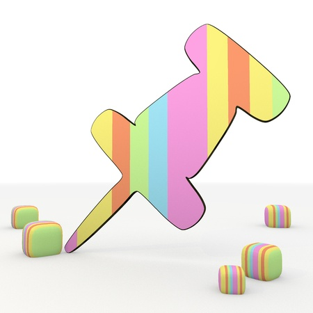 puerile: colorful symbol 3d graphic with friendly pin 3d icon