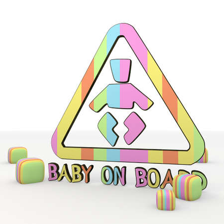 immature: Pastel gray 3d graphic symbol  with fresh baby on board 3d icon Stock Photo