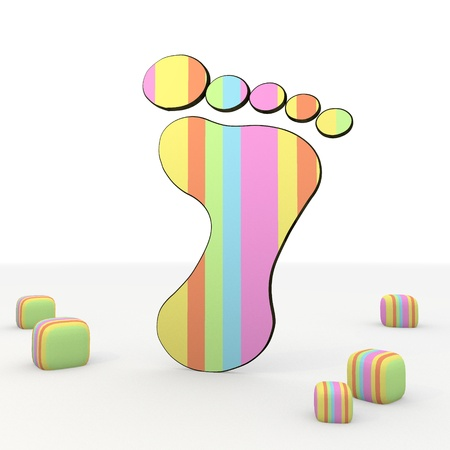 puerile: colorful 3d graphic symbol   with fresh footprint icon Stock Photo