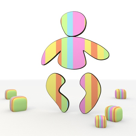 colorful 3d graphic symbol  with friendly baby icon photo