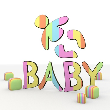 puerile: colorful 3d graphic symbol with coltish baby icon