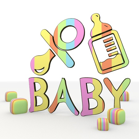colorful  3d symbol graphic with happy baby 3d icon Stock Photo