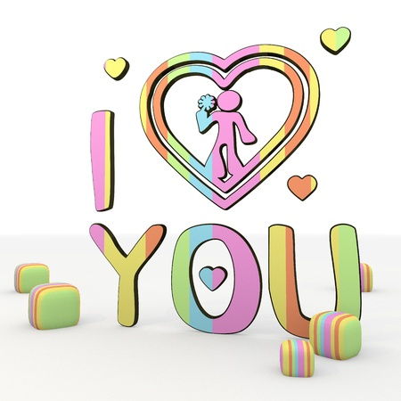 puerile: colorful  3d graphic symbo  with cute I love you 3d icon