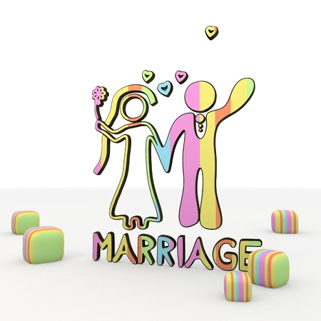 puerile: colorful  3d graphic symbol  with funny marriage 3d icon Stock Photo