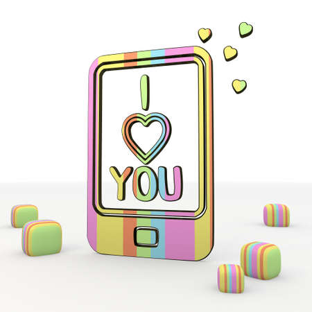 puerile: colorful   3d graphic symbol with nice I love you icon