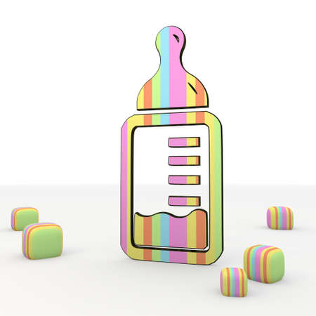 puerile: colorful 3d graphic symbol with comic style baby food 3d icon