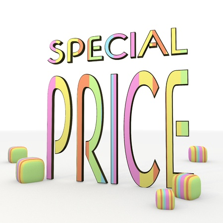 puerile: colorful 3d graphic symbol with happy special price icon Stock Photo