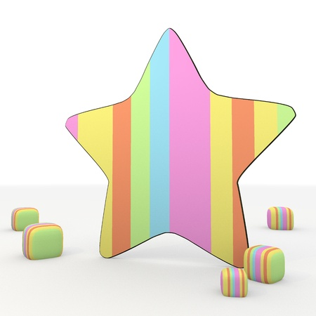 puerile: colorful 3d graphic symbol with funny star 3d icon Stock Photo