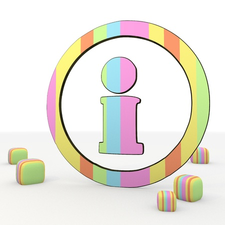 puerile: Pastel gray   3d graphic symbol with childish information icon Stock Photo