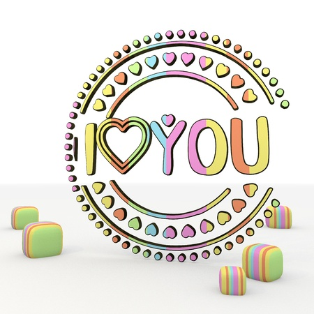 immature: Pastel gray  symbol 3d graphic with colourful I love you 3d icon