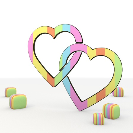 puerile:  3d graphic colourful symbol with childish two hearts icon