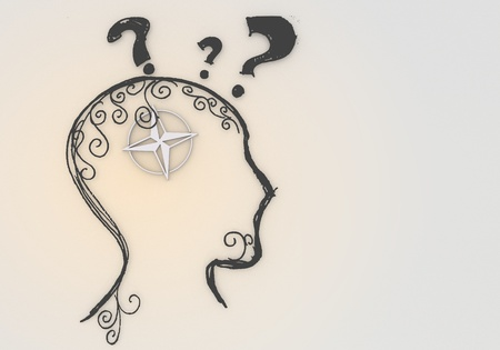 3d graphic  white  brain with psychological compass pictogram photo