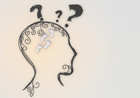 nifty: 3d grafisch witte hersenen met handige footprint pictogram