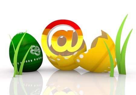 gaudy: easter egg  3d graphic symbol with happy e-mail icon Stock Photo