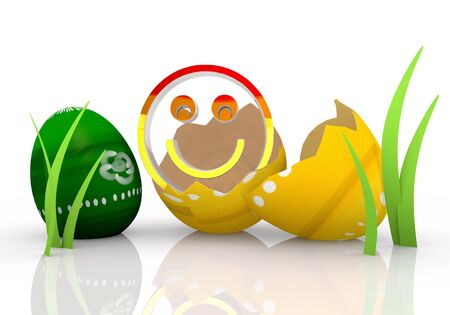 gaudy: Magnolia  3d graphic symbol with gaudy smile Easter egg