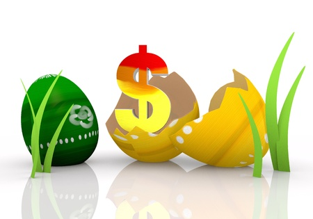 finacial: Magnolia 3d graphic symbol with painted Dollar Easter egg Stock Photo