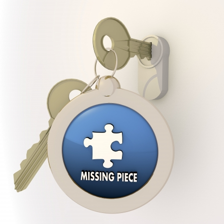 complete solution: 3d graphic Violet-blue  pictogram  with locked missing piece icon on key pendant