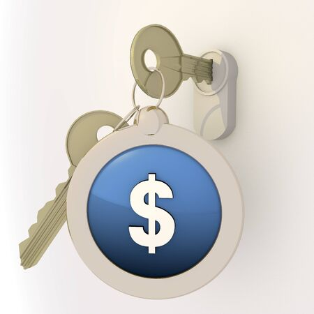 3d graphic Violet-blue  pictogram  with unlocked Dollar icon on key pendant Stock Photo