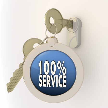 3d graphic Violet-blue  pictogram  with unlocked service icon on key pendant Stock Photo - 18292286