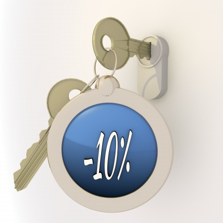 10 key: 3d graphic Violet-blue  pictogram  with opened solved icon on key pendant
