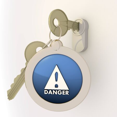 unlocked: 3d graphic Violet-blue  pictogram  with solved Danger icon on key pendant
