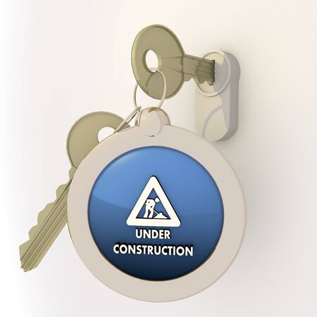 unlocked: 3d graphic Violet-blue  pictogram  with opened under construction icon on key pendant