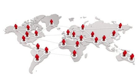 3d graphic White  global  with map man network Stock Photo