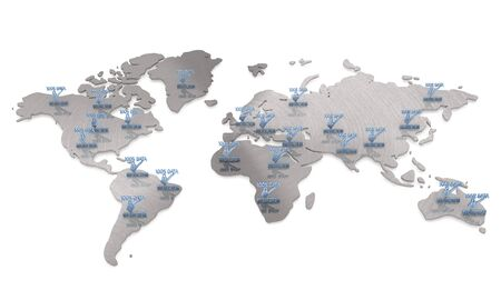 3d graphic White  global  with isolated data protection map