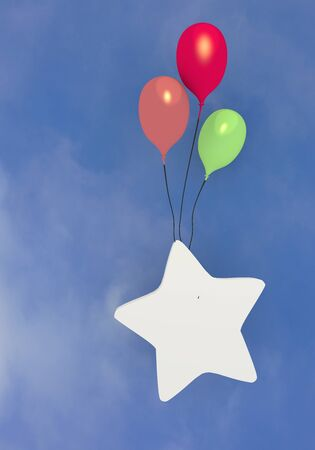 3d graphic Pastel gray  balloon  with flying star balloon photo