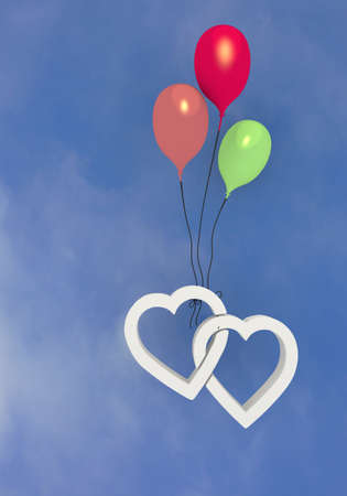 3d graphic Pastel gray  balloon  with two hearts symbol  photo