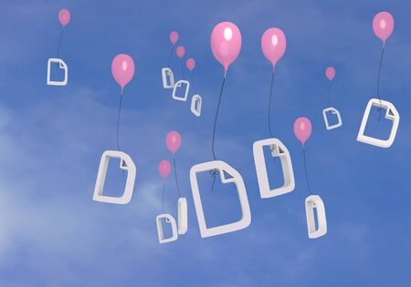 blush: 3d graphic Blush  balloon  with many document  balloons Stock Photo