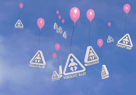 blush: 3d graphic  Blush  balloon with many baby on board  balloons Stock Photo