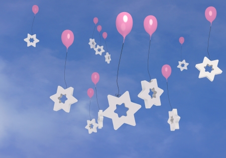 blush: 3d graphic  Blush  balloons  with many stars