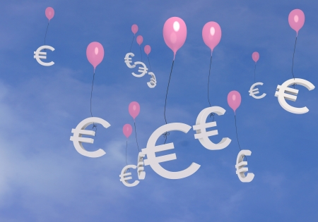 pink free balloon 3d graphic with flying Euro  balloons