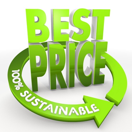 lowest: 3D graphic Green100 percent sustainable best price icon in a white background