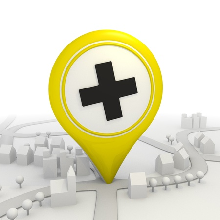 3D graphic Stylish cross pictorgram inside a yellow map pointer