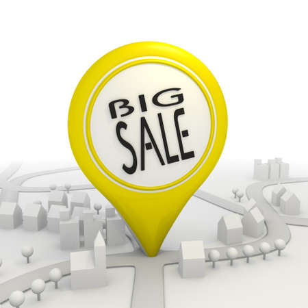 3D graphic Isolated big sale icon  inside a yellow map pointer photo