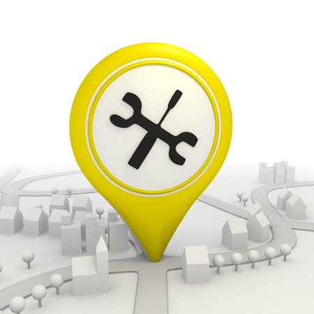 coordinates: 3D graphic Mechanic icon  inside a yellow map pointer
