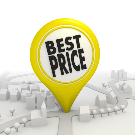 lowest: 3D graphic Best price icon inside a yellow map pointer