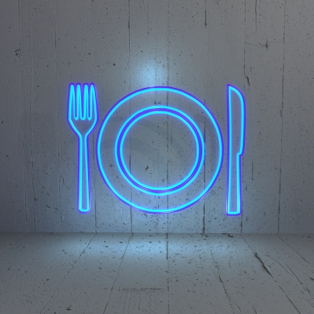 3D graphic Illuminated  restaurant icon  in a  new stylish background photo