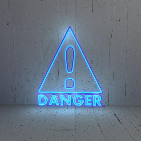 bleak: 3D graphic Illuminated  bluish Danger icon in a new background