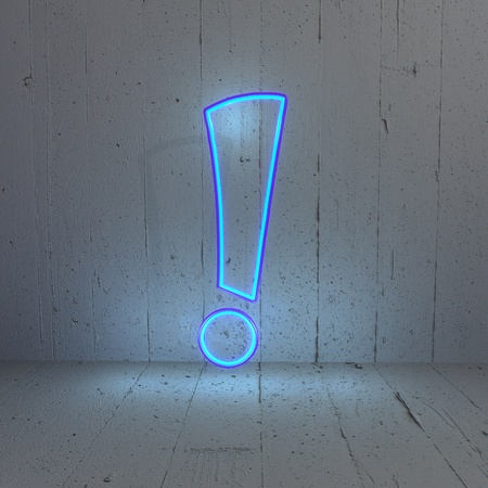 bleak: 3D graphic Stylish Illuminated attention pictogram in a new background